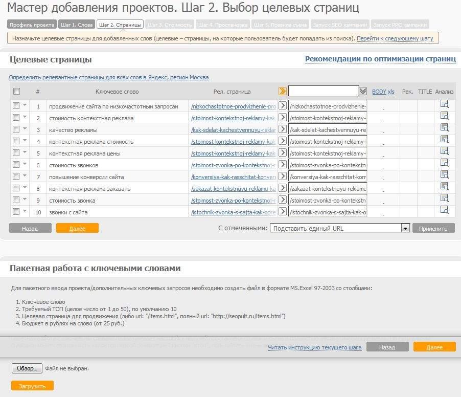 Простановка целевых страниц в проекте SeoPult